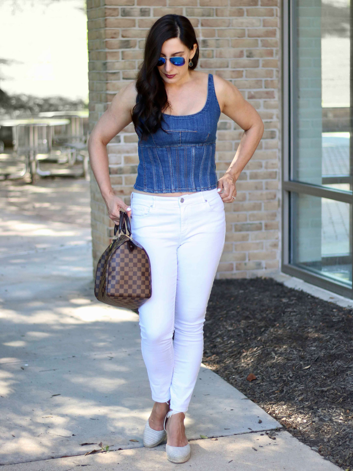 Denim on Denim, White Jeans, Denim Corset Top, Louis Vuitton Speedy