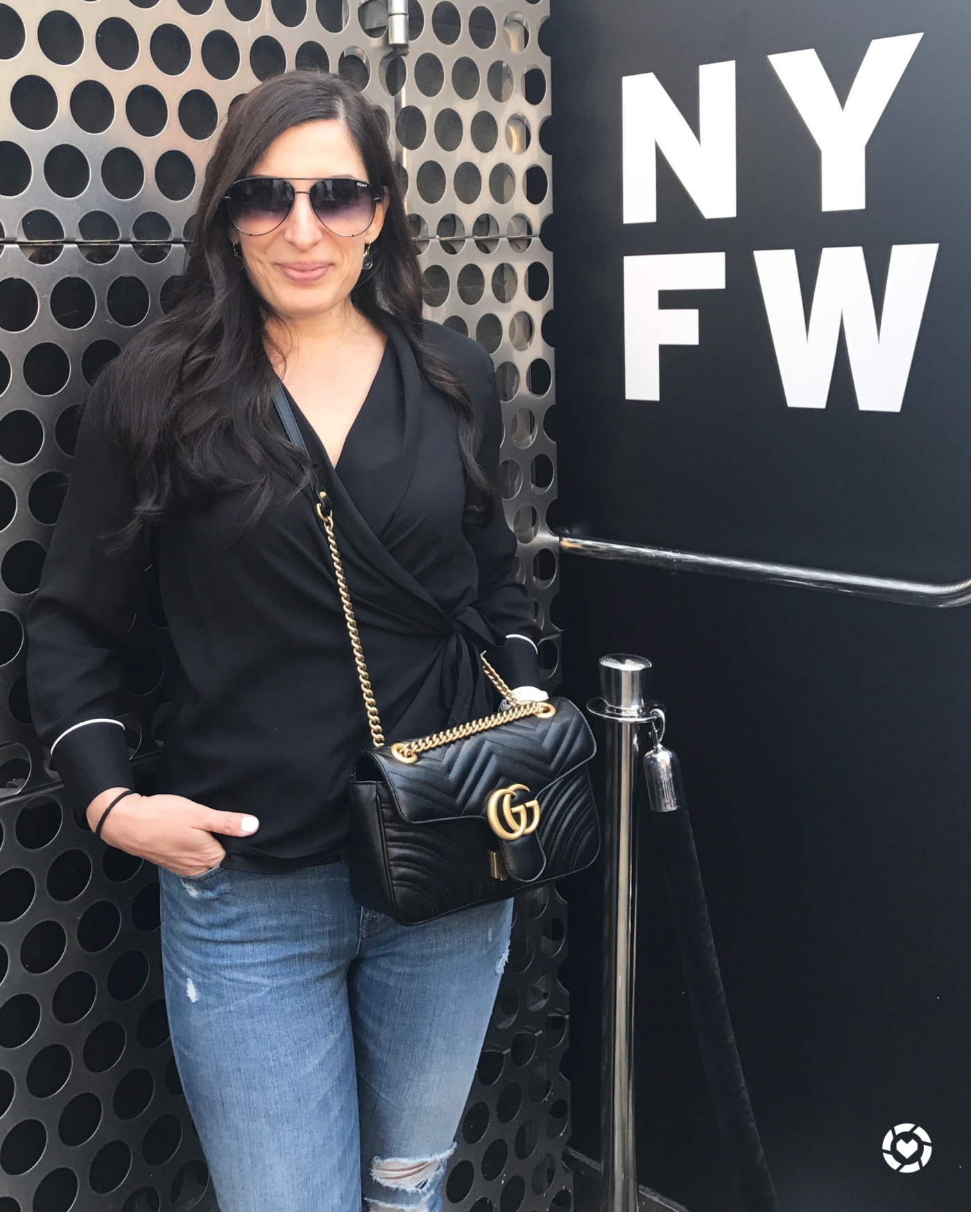 NYFW September 2017, Zara Top, Gucci Marmont Bag, Quay Sunglasses