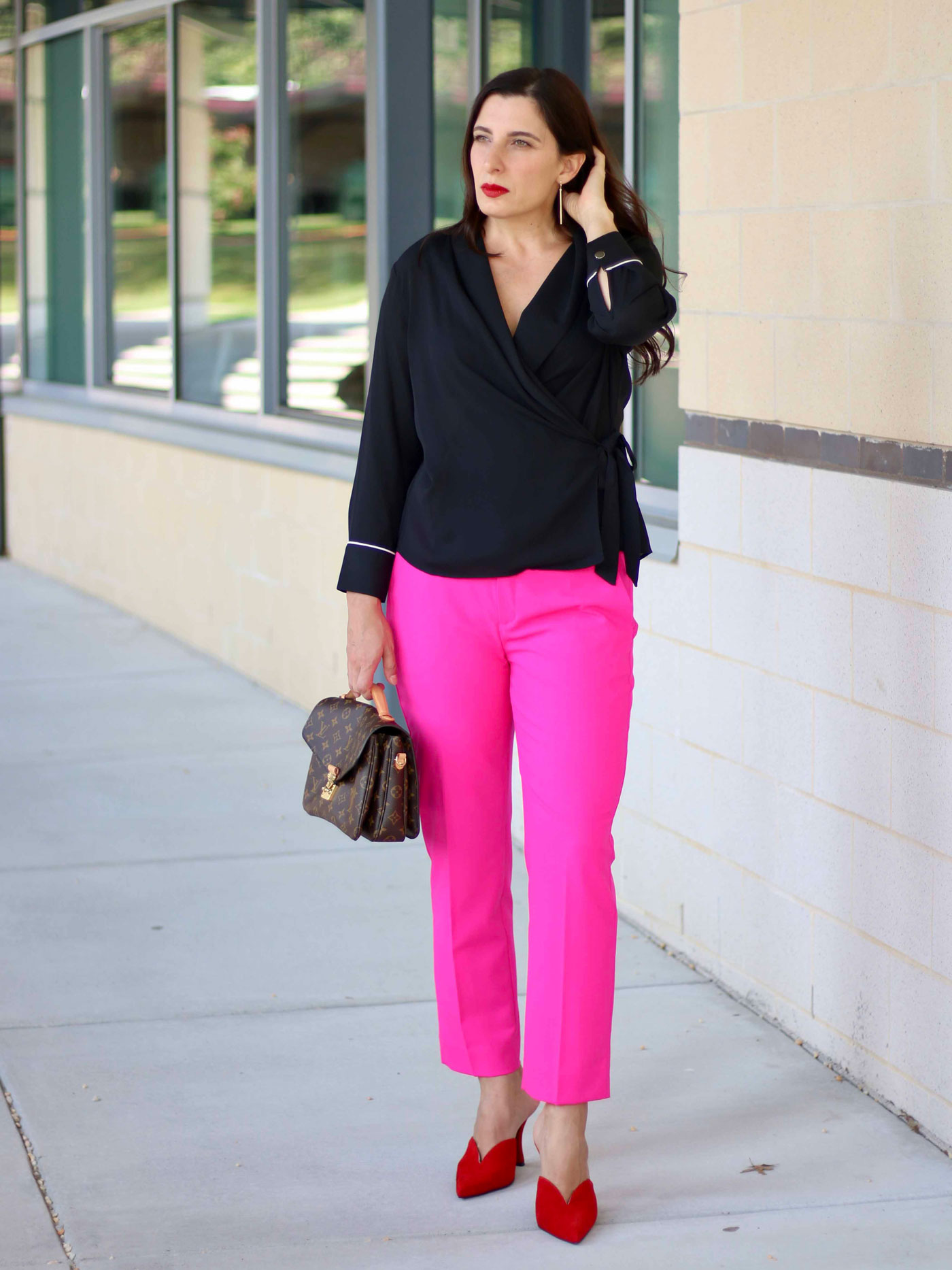 Zara Wrap Top, Hot Pink Pants, Jeffrey Campbell Mules, Louis Vuitton Pochette Metis
