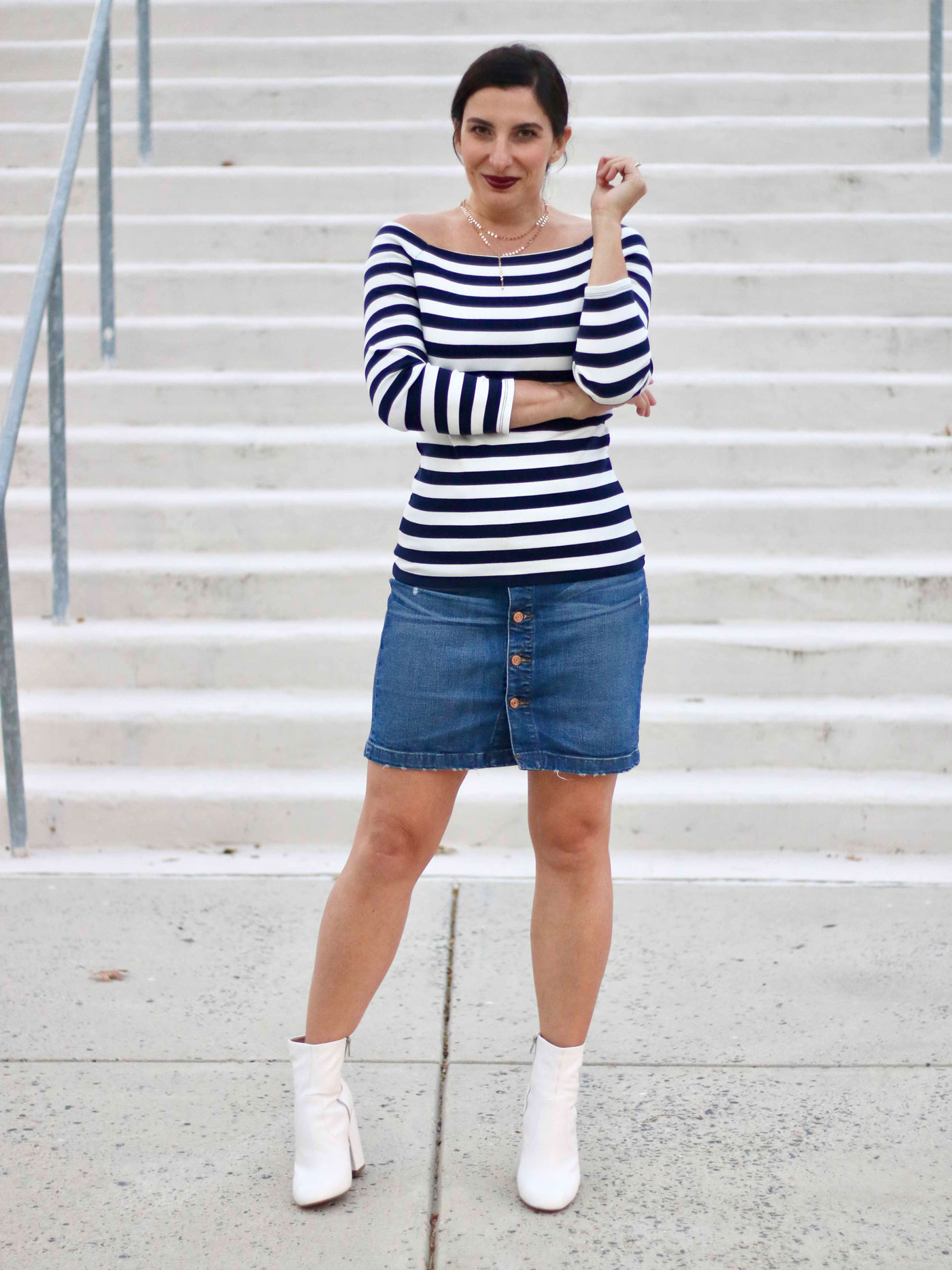 White Booties, J.Crew Striped Off-The-Shoulder, Denim Skirt