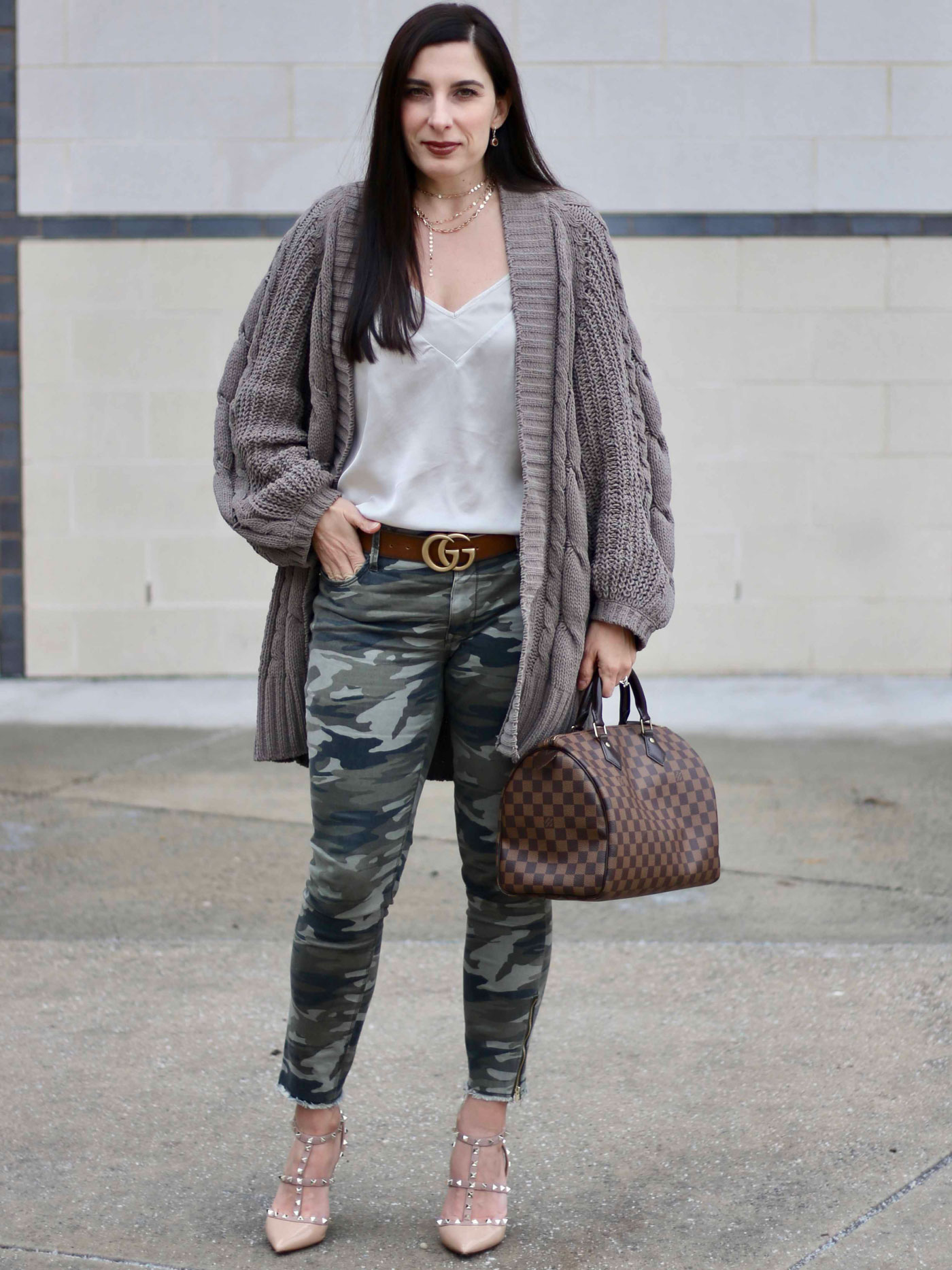 Express Camo Pants, Express Chenille Sweater, Target Satin Cami, Valentino Rockstud Pumps, Baublebar Necklace, Louis Vuitton Speedy