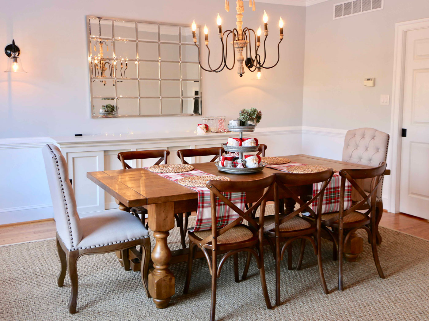 Dining Room Decor, Christmas Style, Pottery Barn Eagan Mirror, Pottery Barn Dining Table, Cross Back Farmhouse Chairs, Wayfair Dining Chairs, World Market Wooden Chandelier