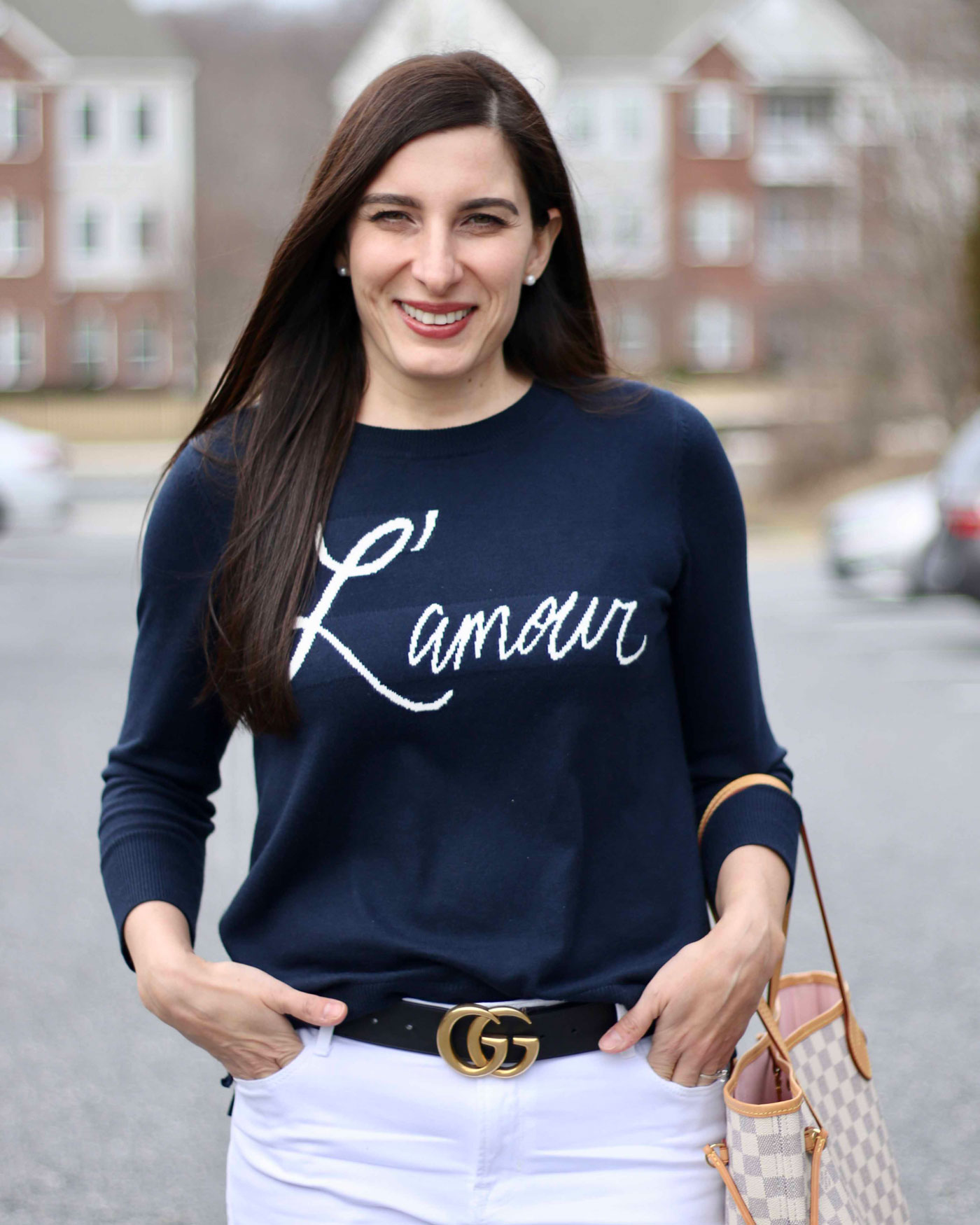 Valentine's Day Mommy and Me Outfit, LOFT L'Amour Sweater, Gucci Belt